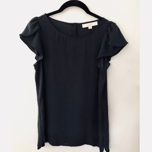 LOFT Black Petal Sleeve Button Back Blouse